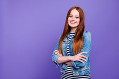 Portrait of her she nice-looking attractive charming cute lovely cheerful straight-haired lady crossed hands isolated. Over bright vivid shine violet background stock images