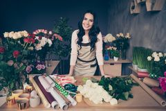 Portrait of her she nice-looking charming lovely attractive cheerful wavy-haired businesslady employer fresh perfect stock photos