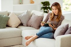Portrait of her she nice-looking cute charming lonely attractive wavy-haired girl sitting on divan alone reading poems. In light white interior room royalty free stock image