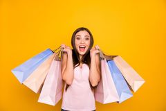Portrait of her she nice-looking cute charming lovely attractive cheerful cheery glad straight-haired girl holding in. Hands colorful bags isolated on bright stock photos