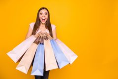 Portrait of her she nice-looking cute charming lovely winsome attractive cheerful cheery crazy straight-haired girl. Holding in hands new colorful bags isolated stock photos
