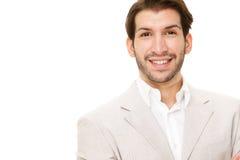 Portrait heureux d'homme d'affaires de brune caucasienne d'isolement sur le blanc Photos stock