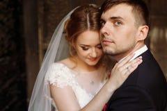 Portrait heureux de couples de nouveaux mariés, plan rapproché de visage de blonde de nouveaux mariés Images stock