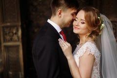 Portrait heureux de couples de nouveaux mariés, plan rapproché de visage de blonde de nouveaux mariés Photo libre de droits