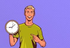 Portrait heureux masculin de personnage de dessin animé d'homme de prise d'horloge de point de doigt de bruit style enthousiaste  illustration de vecteur