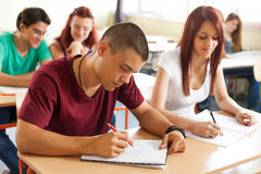 Portrait of high school student at desk Royalty Free Stock Image