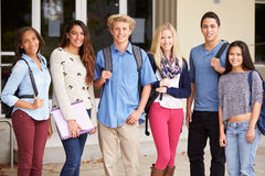 Portrait Of High School Students Standing Outside Building Royalty Free Stock Images