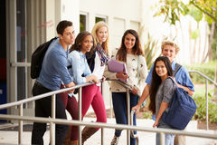 Portrait Of High School Students Standing Outside Building Royalty Free Stock Photos