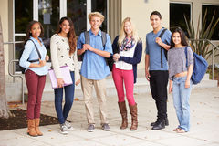 Portrait Of High School Students Standing Outside Building Royalty Free Stock Photo
