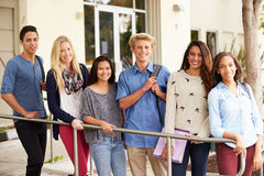 Portrait Of High School Students Standing Outside Building Royalty Free Stock Photography