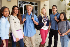 Portrait Of High School Students Standing Outside Building Stock Images