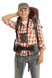 Portrait of hiker. Portrait of female hiker with equipment Royalty Free Stock Image