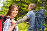 Portrait of hiker girl smiling at camera Stock Photography