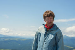 Portrait of a hiker on top Royalty Free Stock Photos