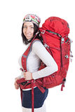Portrait of hiker woman with backpack isolated on white backgrou Royalty Free Stock Photography