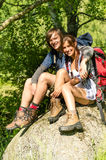 Portrait of hikers young couple outdoors Royalty Free Stock Images