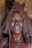 Portrait of an Himba woman inside his Hut, Namibia Stock Photos