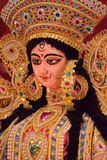 Portrait of Hindu Goddess Durga idol. In vertical frame Royalty Free Stock Photo