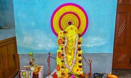 Portrait of Hindu goddess Saraswati during Saraswati puja festival. royalty free stock photos