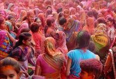Portrait of Hindu men and women celebrating Holi festival Royalty Free Stock Photo