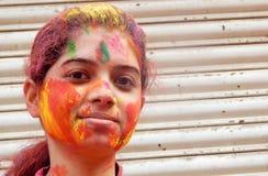 Portrait of Hindu woman celebrating Holi festival Stock Image