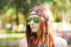 Portrait of hippie style woman in summer sunny day, outdoor. Stock Photo