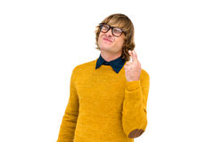 Portrait of hipster crossing his fingers Royalty Free Stock Images