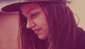 Portrait of hipster girl in snap back cap Royalty Free Stock Images