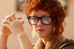 Portrait of a hipster girl royalty free stock photography