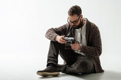 Portrait of hipster photographer Royalty Free Stock Photo