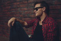 Portrait hipster smilling man with glasses casual Royalty Free Stock Photography