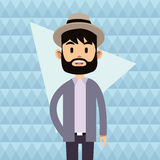 Portrait hipster young man beard hat abstract background Stock Photo