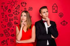 Portrait of his he her she two lovely attractive elegant chic people dress and bow tux looking aside up planning weekend stock photo