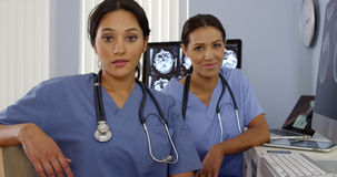Portrait of Hispanic and African American doctors sitting at computer Royalty Free Stock Photography