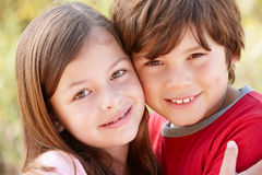 Portrait hispanic brother and sister outdoors Stock Photography