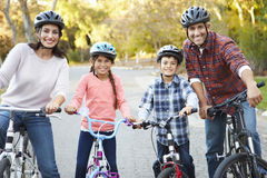 Portrait Of Hispanic Family On Cycle Ride Royalty Free Stock Photography