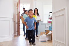 Portrait Of Hispanic Family Moving Into New Home royalty free stock images