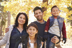Portrait of Hispanic family outdoors looking at camera Royalty Free Stock Image