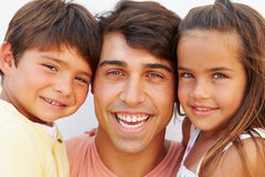 Portrait Of Hispanic Father With Children Royalty Free Stock Image