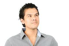 Portrait Hispanic Man Interest Looking Up Product Stock Photo