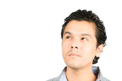 Portrait Hispanic Man Looking Up Copy Space Think royalty free stock photography