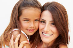 Portrait Of Hispanic Mother And Daughter stock images