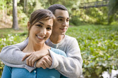 Portrait of Hispanic mother and teen son outdoors Stock Photography