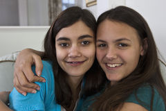 Portrait of a hispanic teenage sisters Stock Images