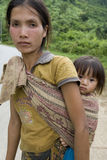 Portrait Hmong woman with baby Stock Images