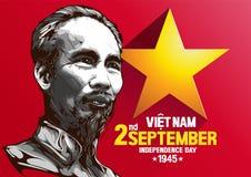 Portrait of Ho Chi Minh Vietnam Independence Day stock illustration