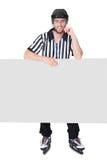 Portrait of hockey judge presenting empty banner Stock Photos