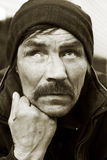 Portrait of homeless beggar. Stock Images