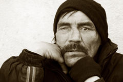 Portrait of homeless beggar Royalty Free Stock Image