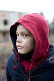 Portrait of a homeless boy Royalty Free Stock Images